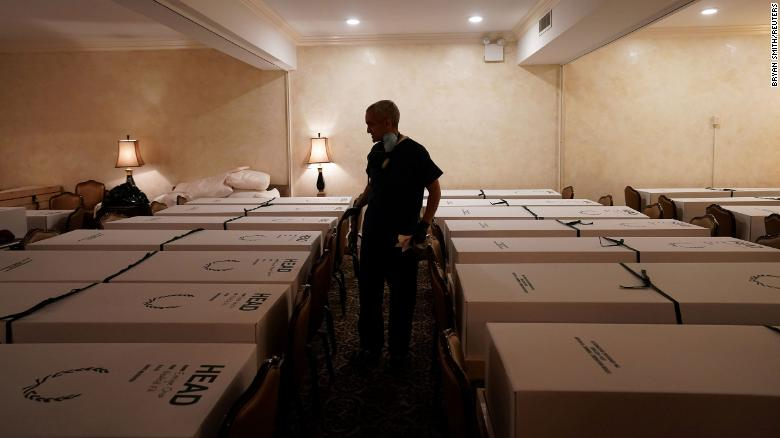 A second peak of coronavirus could lead to more preventable deaths. This New York funeral home, pictured in April, was already overwhelmed with the dead in the first wave of the disease.