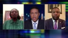 Wanda Cooper, left, and attorney Lee Merritt speak with CNN's Don Lemon on May 3.