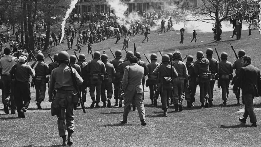 The Ohio National Guard is called in to disperse a rally on May 4, 1970. Shortly after the protest began, guardsmen fired tear gas at the students.