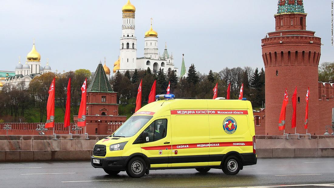 An ambulance seen on Moscow's Bolshoi Moskvoretsky Bridge during the ongoing Covid-19 outbreak on May 4.