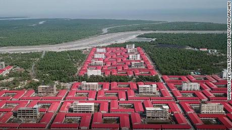 Buildings in which members of the Rohingya refugee community are to be accommodated on the Bhashan Char mud island.