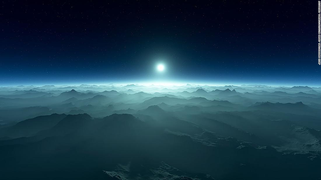 An artistic rendering of a planet's atmosphere with a white dwarf star on the horizon. Credit: Jack Madden, Carl Sagan Institute, Cornell University