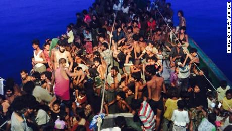Hundreds of Rohingya migrants were caught on board a boat at sea in 2015.