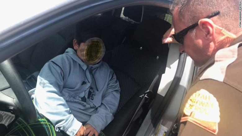 A 5-year-old boy was pulled over by the Utah Highway Patrol while driving his family's vehicle by himself Monday, May 4, 2020.  Troopers obscured the child's face in the photo.