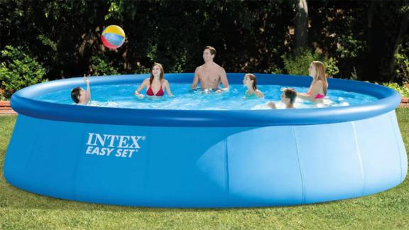Intex 48in x 18ft Inflatable Above Ground Swimming Pool with Ladder, Pump & Cover