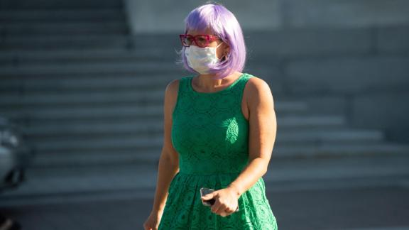Sen. Kyrsten Sinema (D-AZ) leaves following a vote at the US Capitol in Washington, May 4, 2020.