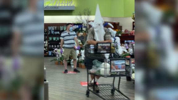 Image for A man wore what appeared to be a KKK white hood on a trip to the grocery store