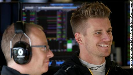 Hulkenberg prepares to drive during practice for the F1 Grand Prix of Brazil.