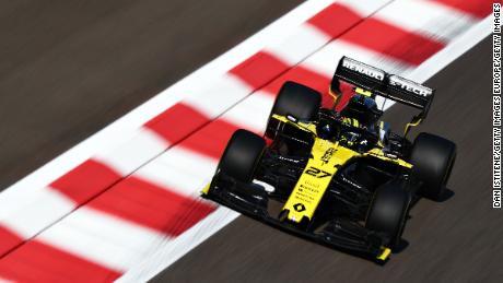 Hulkenberg races during practice for the F1 Grand Prix of Abu Dhabi.