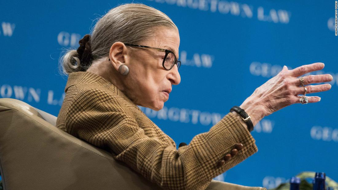 Ginsburg participates in a discussion about the 19th Amendment at the Georgetown University Law Center in February 2020. The 19th Amendment guaranteed women the right to vote.