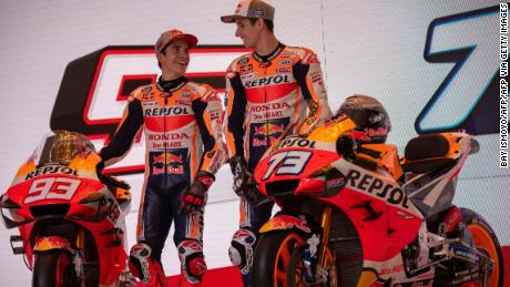 Marc Marquez (L) and his brother Alex Marquez (R) at the Repsol Honda team's official presentation for the 2020 season in Jakarta on February 4, 2020.