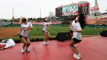SK Wyverns cheerleaders at club's Happy Dream Ballpark during the Korean Baseball Organization (KBO) League opening game Tuesday.