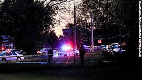 Indianapolis police at the scene of an officer-involved shooting at 62nd Street and Michigan Road, Indianapolis, Wednesday, May 6.