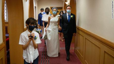Hong Kong's coronavirus guidelines allow up to 20 guests at a wedding.  Ivan Watson and Rana Wehbe had eight. Photo: Scott Clotworthy