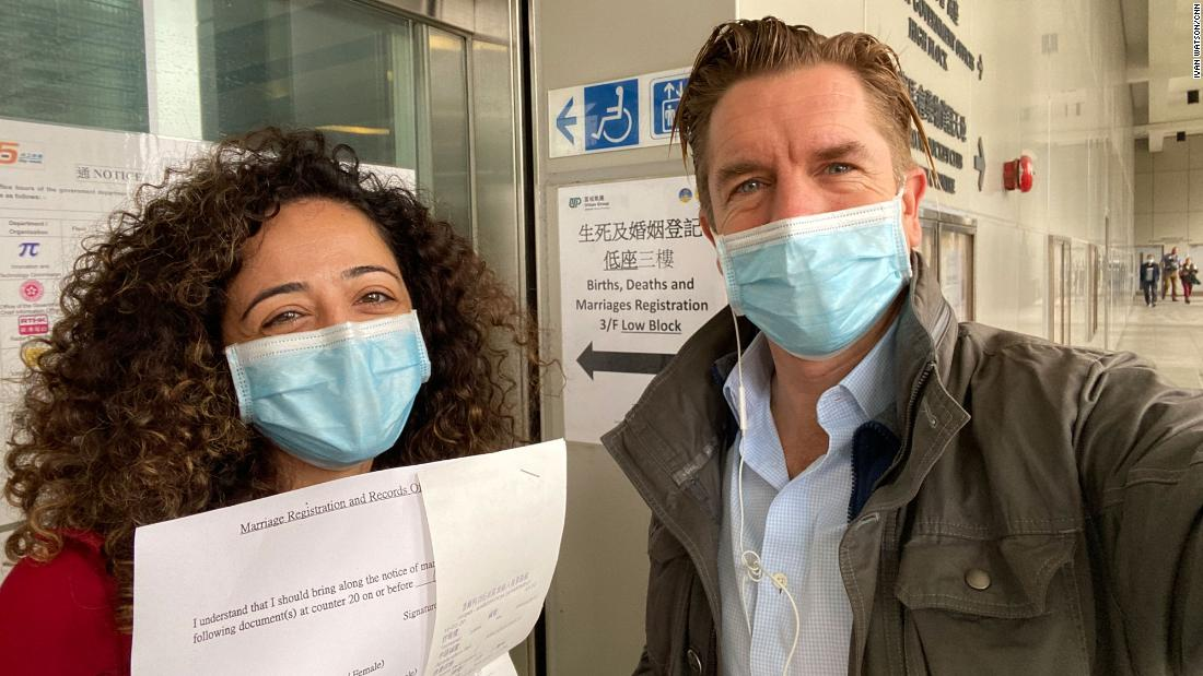 Rana and Ivan at Hong Kong's Births, Deaths and Marriages Registrations Office on February 9. Photo: Ivan Watson
