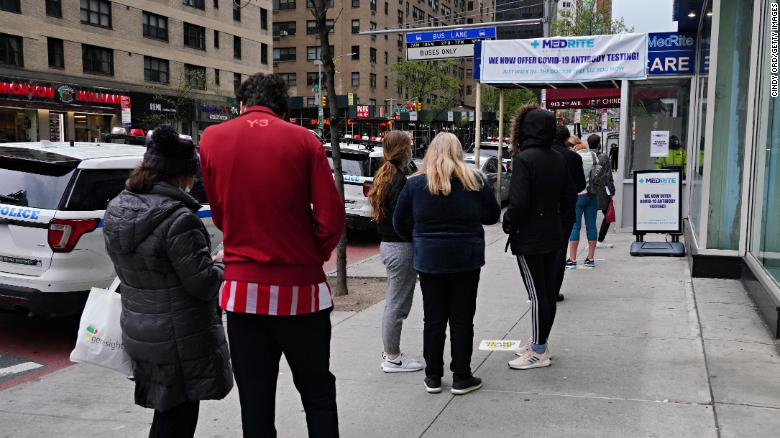 People line up outside a New York City clinic carrying out antibody testing on April 27.