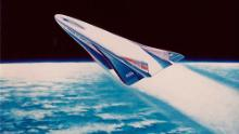 Concept art for a Rockwell X-30 space plane