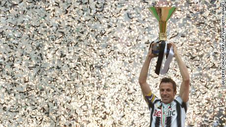 Del Piero celebrates his team winning Italy's Serie A title in 2012.