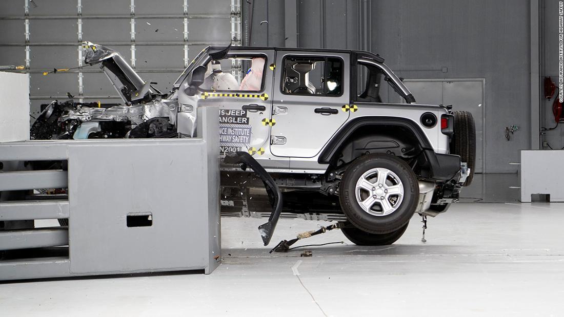 Jeep Wrangler Tips Over In Crash Test