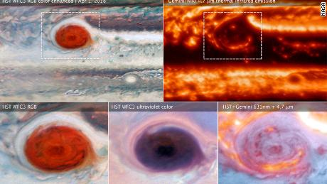 Different wavelength images of Jupiter's Great Red Spot reveal its secrets.