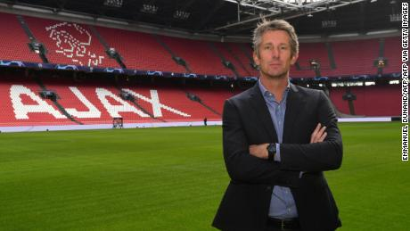 Van der Sar poses at the Johan Cruyff ArenA in Amsterdam.