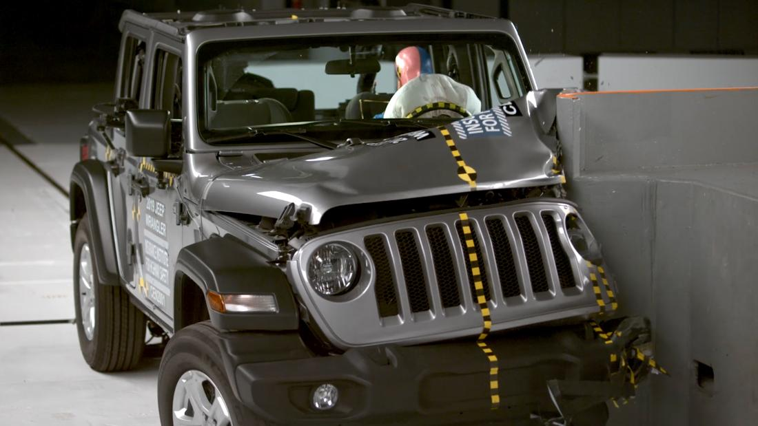 Jeep crashes and then tips over in test drive