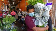 Businesses in the flower district in Skid Row reopen in time for Mothers Day in Los Angeles, California.