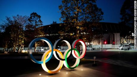 The Olympic rings displayed outside the National Stadium, a venue for the postponed Tokyo 2020 Olympic Games.