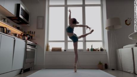 "Ballerina Isabella Boylston with the American Ballet Theatre performing ""The Swan"" in support of the Swans for Relief initiative."