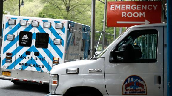 Ambulances are parked in front of the emergency entrance to Mt. Sinai, Beth Israel Hospital amid coronavirus crisis.  COVID-19 has spread to most countries around the world, claiming over 280,000 lives and infecting over 4.1 million people.
