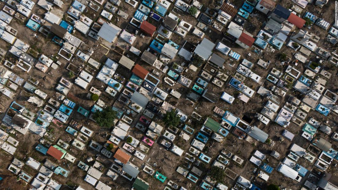 The San Isidro cemetery in Mexico City, which was temporarily closed to the public to limit the spread of Covid-19, is seen in this aerial photo from May 10.