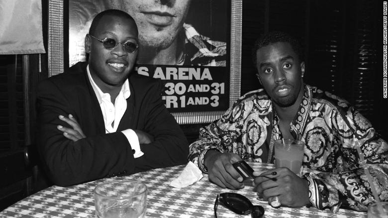 "Andre Harrell, left, and Sean ""Diddy"" Combs pose for a photo at a party after Lifebeat's Urban Aid benefit concert at Madison Square Garden on October 5, 1995 in New York City, New York."
