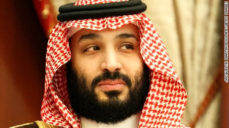 Saudi Arabia's Crown Prince Mohammed bin Salman is pictured during a meeting with the US secretary of state.