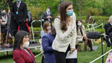 CNN White House correspondent Kaitlan Collins tries to ask her question of U.S. President Donald Trump after he called on her on the heels of an exchange with CBS News correspondent Weijia Jiang (L) during a coronavirus disease (COVID-19) outbreak response briefing at the White House in Washington, U.S., May 11, 2020. The president refused to hear Collins' question, then ended and left the news conference. REUTERS/Kevin Lamarque