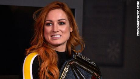 WWE Superstar Becky Lynch celebrates her win at Wrestlemania 35.