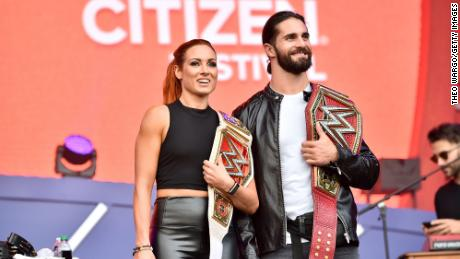 Becky Lynch and Seth Rollins.