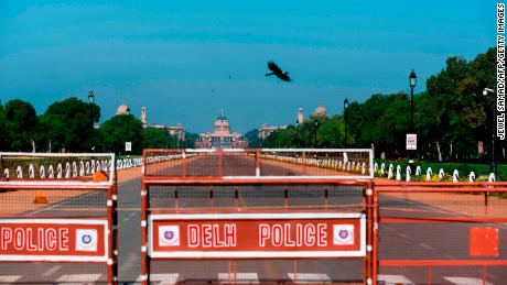 Clear blue skies seen over the Presidential Palace during a government-imposed nationwide lockdown in New Delhi, on April 2.