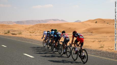 A breakaway group led by Team Novo Nordisk's Charles Planet races during the Tour of Dubai in 2016.