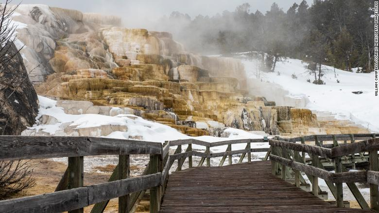 A picture from March of empty boardwalks at Mammoth Hot Springs in Yellowstone National Park.