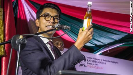 The President of Madagascar, Andry Rajoelina, attends a ceremony April 20 to launch Covid Organics.