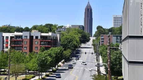 ATLANTA, GEORGIA - MAY 10:  A city-space view of the Poncey-Highland and Atlanta midtown area along the Atlanta Beltline as the coronavirus pandemic continues on May 10, 2020 in Atlanta, Georgia.   There are currently over 32,000 confirmed COVID-19 cases in Georgia.   (Photo by Paras Griffin/Getty Images)