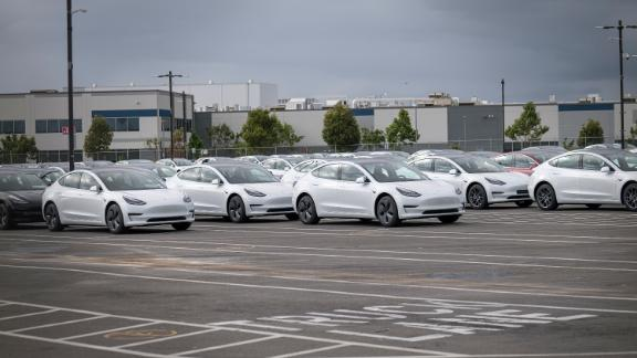 Tesla Model 3s at the company's assembly plant in Fremont, California, on Monday, May 11, 2020.