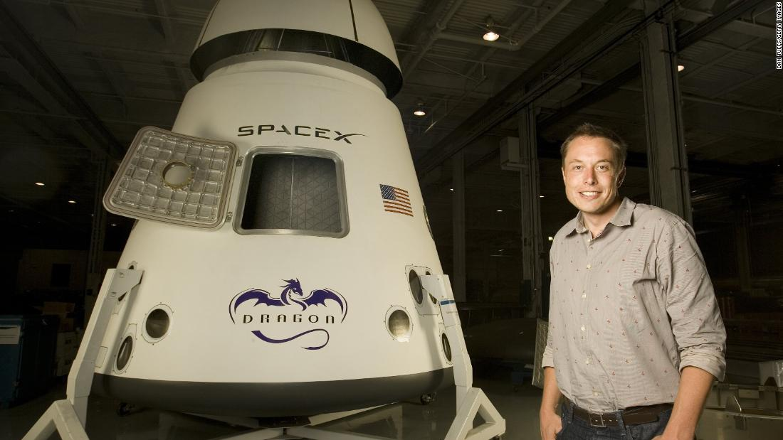 "Musk poses next to a SpaceX Dragon spacecraft in 2008. Musk founded SpaceX in 2002 with the intention of making space travel cheaper and more accessible. In 2010, the Dragon became <a href=""https://www.cnn.com/2010/US/12/08/space.flight/"" target=""_blank"">the first commercial spacecraft to orbit the Earth and return.</a> In 2012, it became the first private capsule <a href=""https://www.cnn.com/2012/05/25/us/spacex/"" target=""_blank"">to connect to the International Space Station.</a>"
