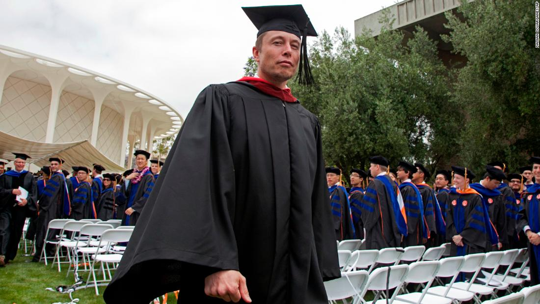 Musk walks in a procession after delivering the commencement speech at the California Institute of Technology in 2012.
