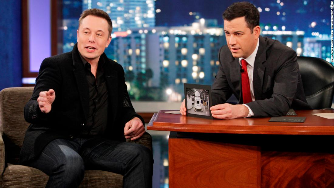 "Musk appears on the late-night talk show ""Jimmy Kimmel Live"" in 2013."