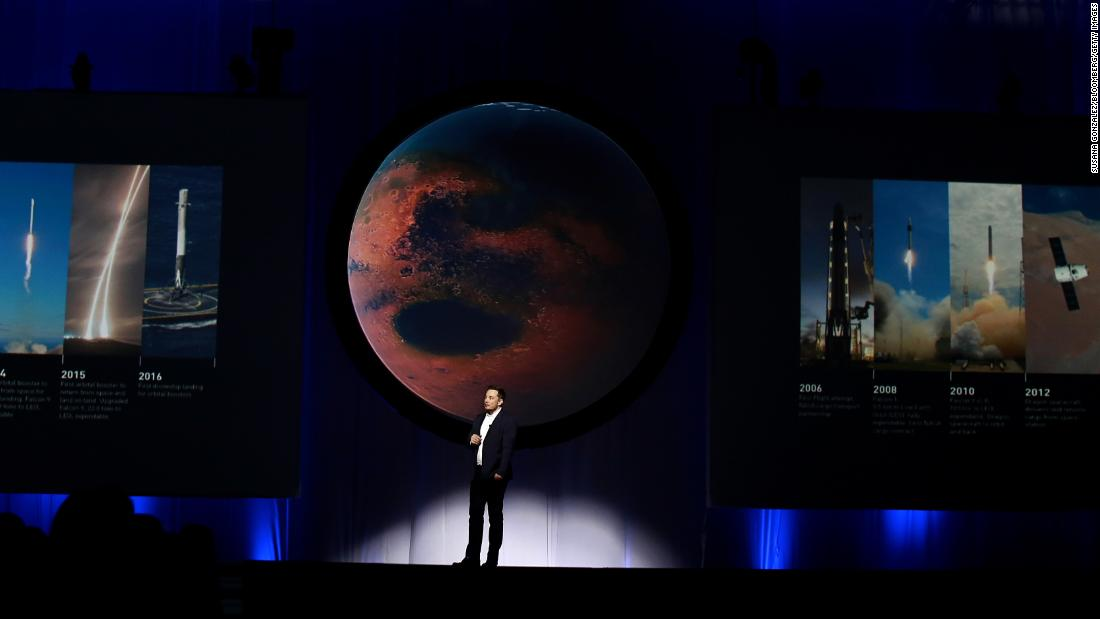 "Musk has long said he wants to make humans an ""interplanetary species,"" and in 2016 <a href=""https://money.cnn.com/2016/09/27/technology/spacex-elon-musk-mars-colonization/index.html"" target=""_blank"">he laid out his plan to colonize Mars.</a> He was speaking at the International Astronautical Congress, a meeting of multiple international space-exploration associations."