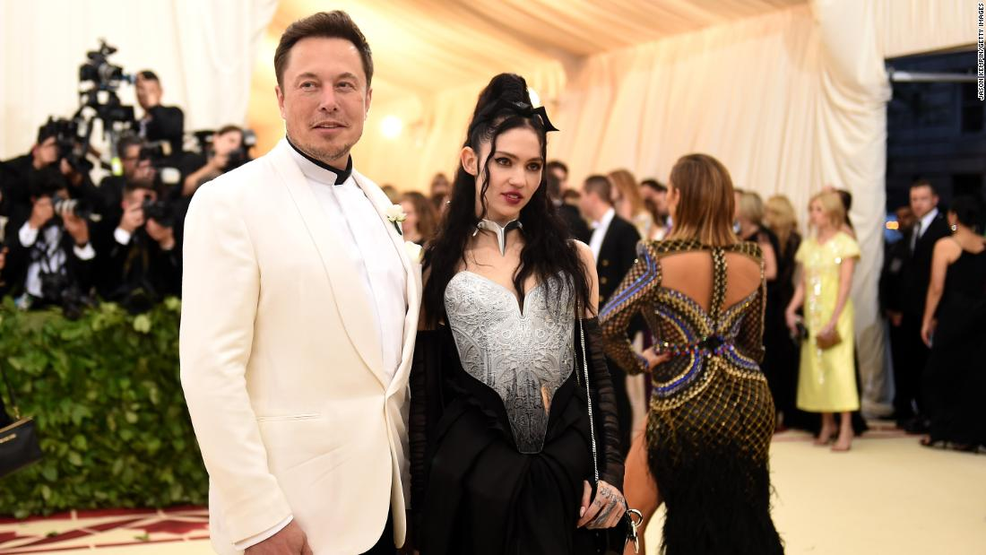 Musk and his girlfriend, singer Grimes, attend the Met Gala in New York in 2018.