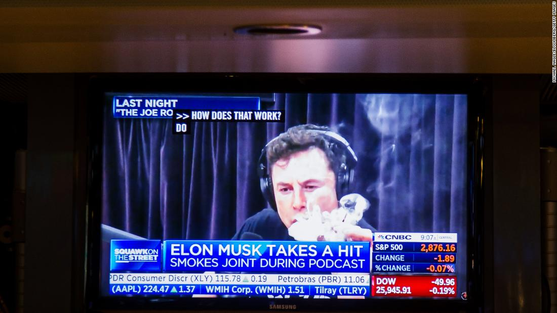 "Musk is seen on a television monitor on the floor of the New York Stock Exchange in 2018. Musk smoked a joint while <a href=""https://www.cnn.com/2018/10/01/tech/elon-musk-joe-rogan/index.html"" target=""_blank"">talking to podcast host Joe Rogan </a>about what it's like inside his head (""a never-ending explosion""), keeping a car company in business (""very difficult"") and trying to get governments to regulate artificial intelligence (""nobody listened"")."