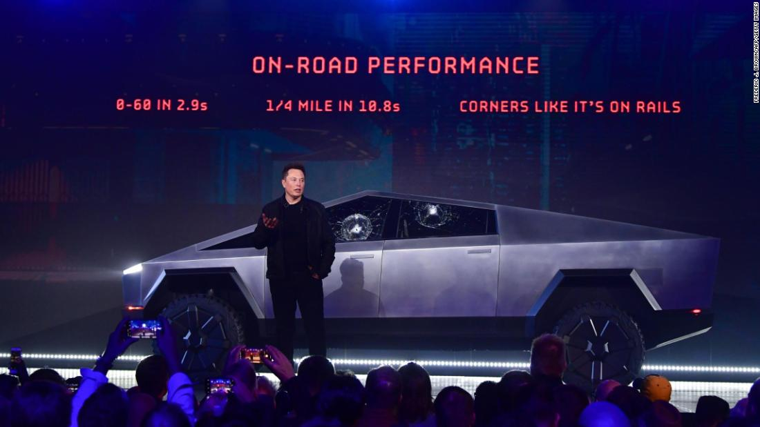 "Musk <a href=""https://www.cnn.com/2019/11/22/cars/tesla-cybertruck-electric-pickup-truck/index.html"" target=""_blank"">reveals Tesla's new electric pickup truck</a> in 2019. A demonstration of the Cybertruck's supposedly unbreakable windows backfired, however, when a metal ball thrown at the windows did, in fact, break them."