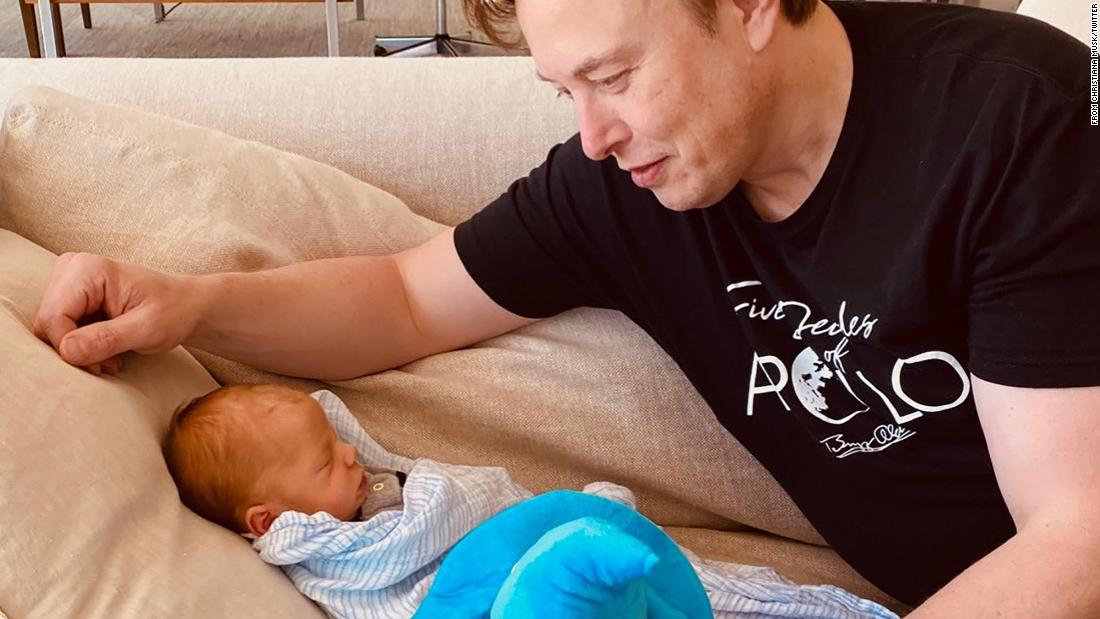 "Musk looks at his new baby boy in <a href=""https://twitter.com/mayemusk/status/1259297517776171008"" target=""_blank"">this tweet </a>posted by his mother in May 2020. The baby, <a href=""https://www.cnn.com/2020/05/06/entertainment/grimes-elon-musk-baby-name-intl-scli/index.html"" target=""_blank"">named X Æ A-12,</a> is his first child with Grimes. He has five other children from a previous marriage."